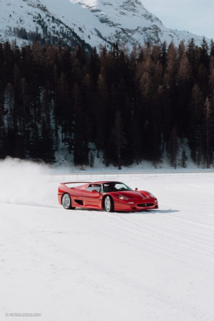 Ferrari F50,s, Daytona's, Lancia Stratos's, Delta Integrale's, Countach's sliding in the snow